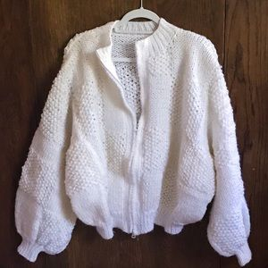 CHUNKY HAND KNITTED White Beaded Cardigan